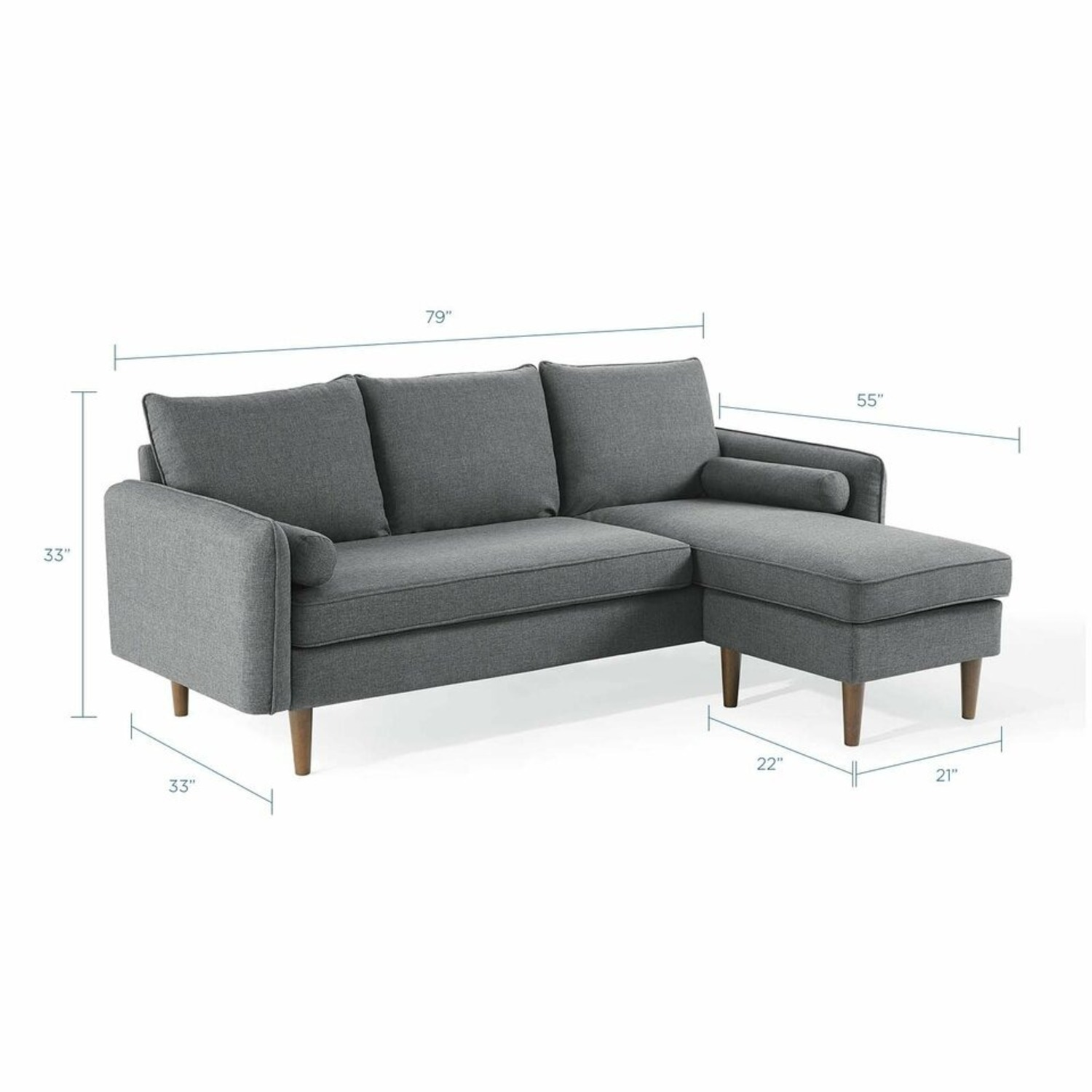 2-Piece Sectional Sofa In Gray Upholstery Finish - image-11