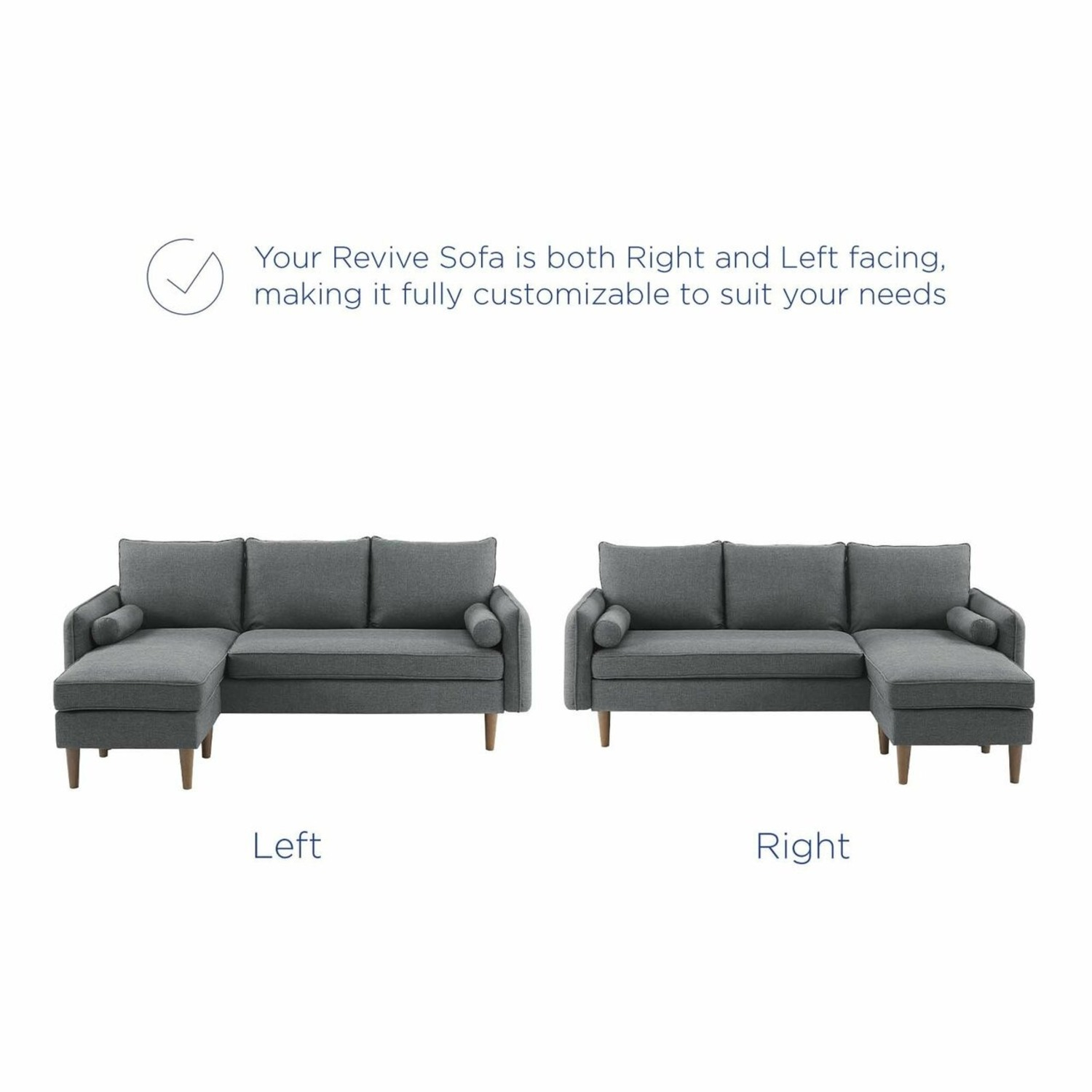 2-Piece Sectional Sofa In Gray Upholstery Finish - image-6