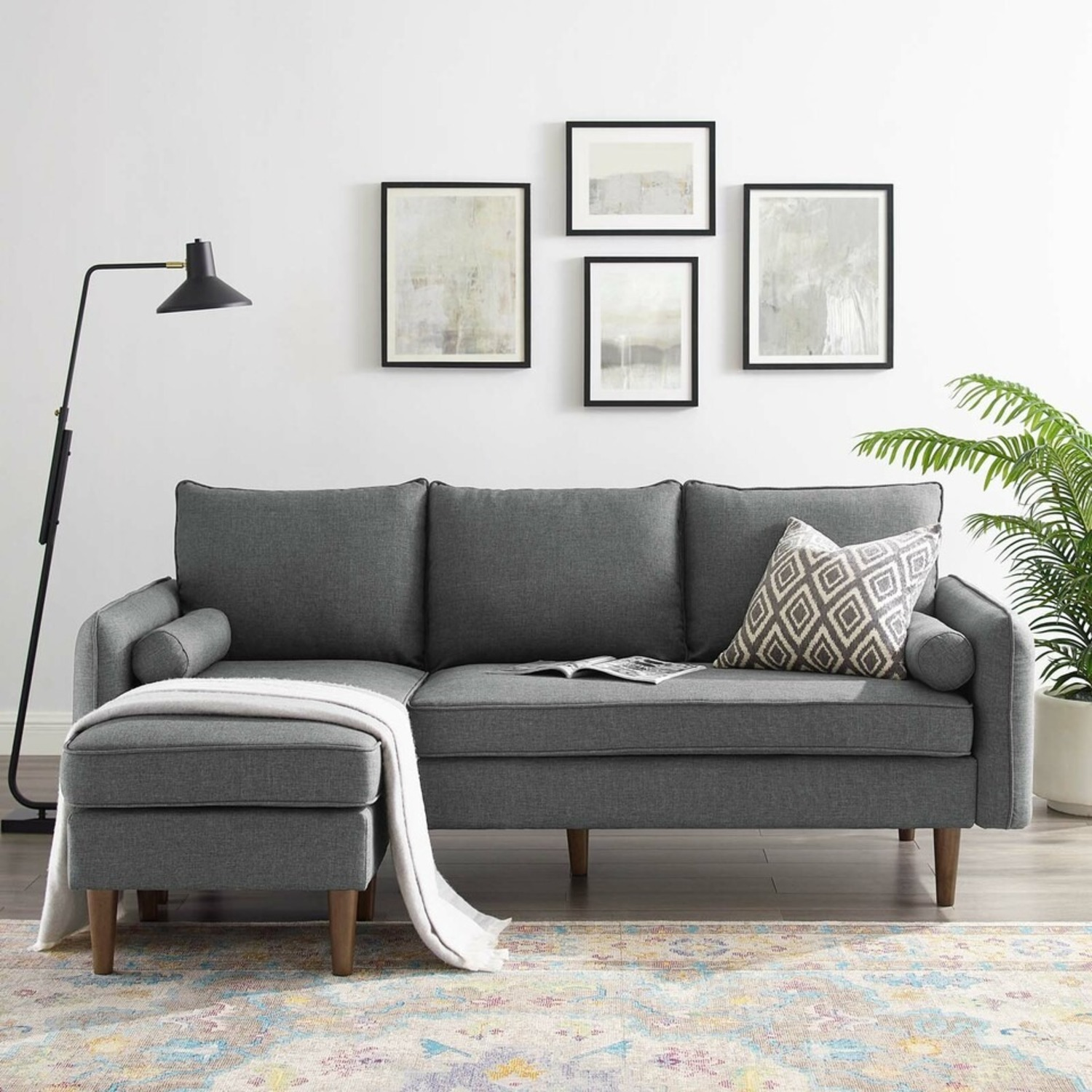 2-Piece Sectional Sofa In Gray Upholstery Finish - image-8
