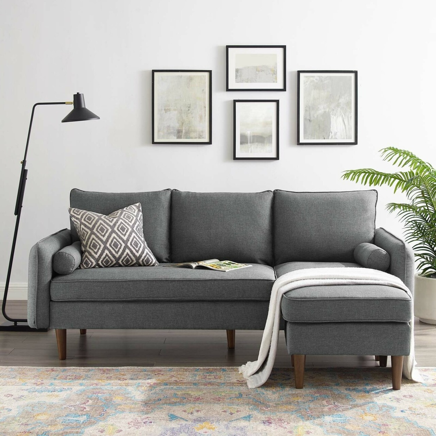 2-Piece Sectional Sofa In Gray Upholstery Finish - image-10