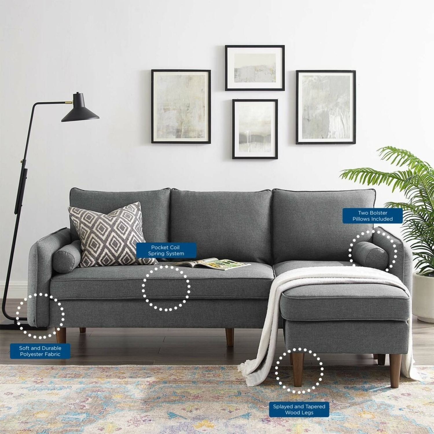 2-Piece Sectional Sofa In Gray Upholstery Finish - image-9