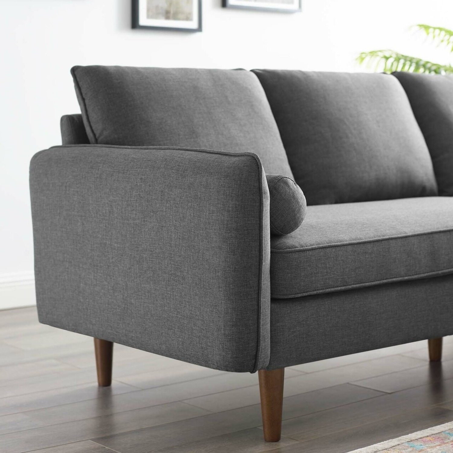 2-Piece Sectional Sofa In Gray Upholstery Finish - image-7