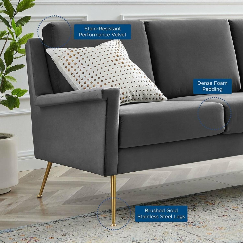 Modern Glam Style Sofa In Gray Velvet & Gold Legs - image-7