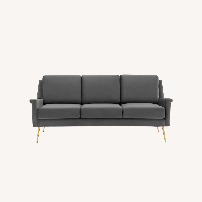 Modern Glam Style Sofa In Gray Velvet & Gold Legs - image-8
