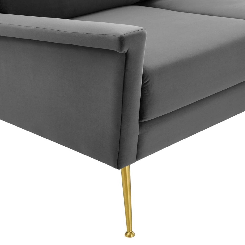 Modern Glam Style Sofa In Gray Velvet & Gold Legs - image-4