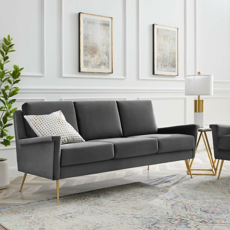 Modern Glam Style Sofa In Gray Velvet & Gold Legs - image-6