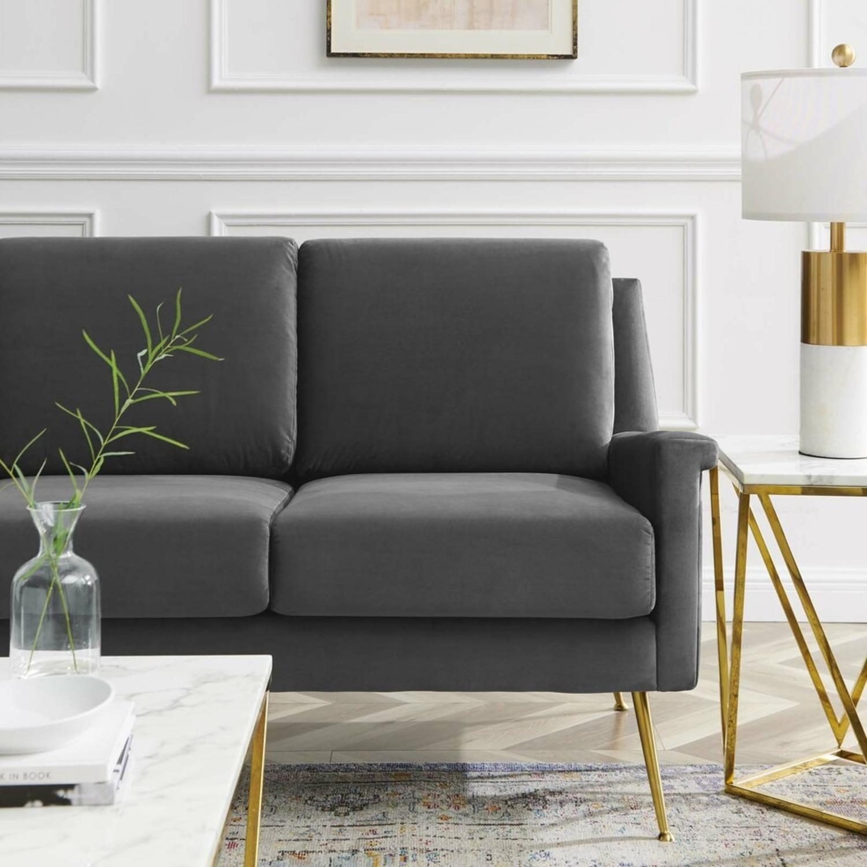 Modern Glam Style Sofa In Gray Velvet & Gold Legs - image-5