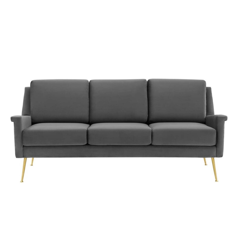 Modern Glam Style Sofa In Gray Velvet & Gold Legs - image-1