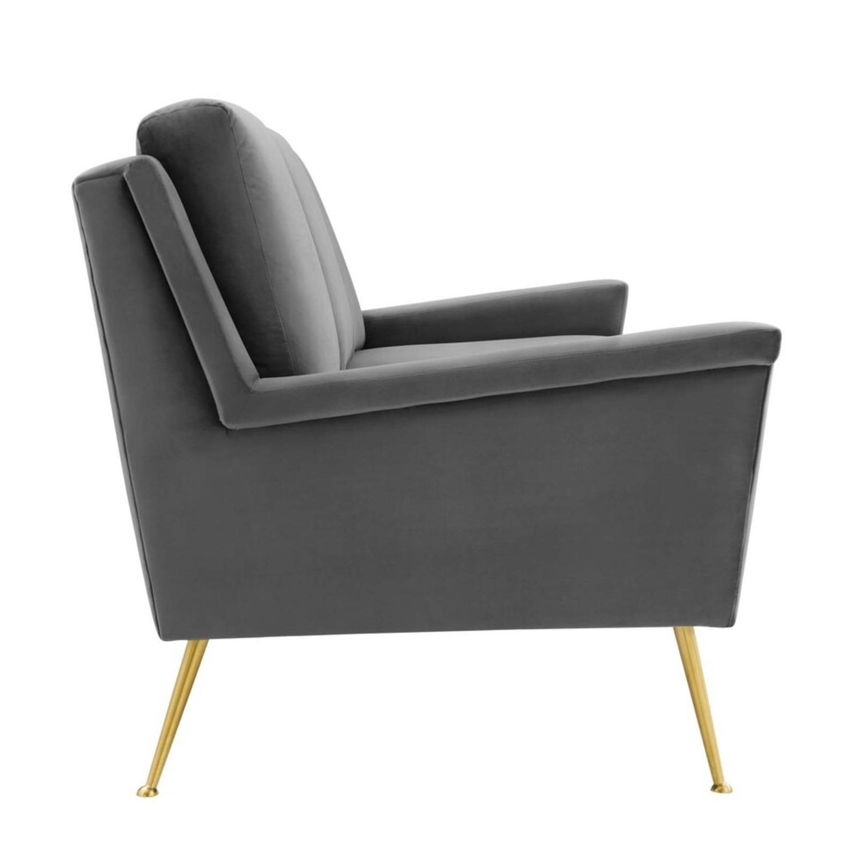 Modern Glam Style Sofa In Gray Velvet & Gold Legs - image-2