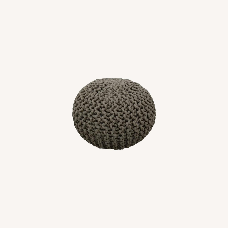 """Gum Drop 100% Cotton Round Pouf Ottoman 15""""x17"""" - image-0"""