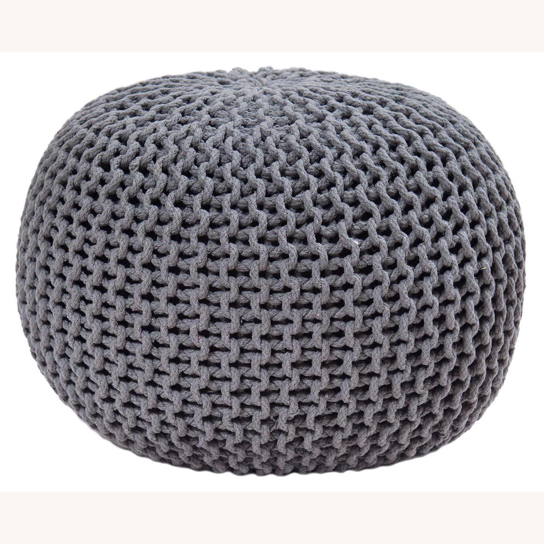 "Gum Drop Cotton Round Charcoal Ottoman 15""x17"" - image-5"