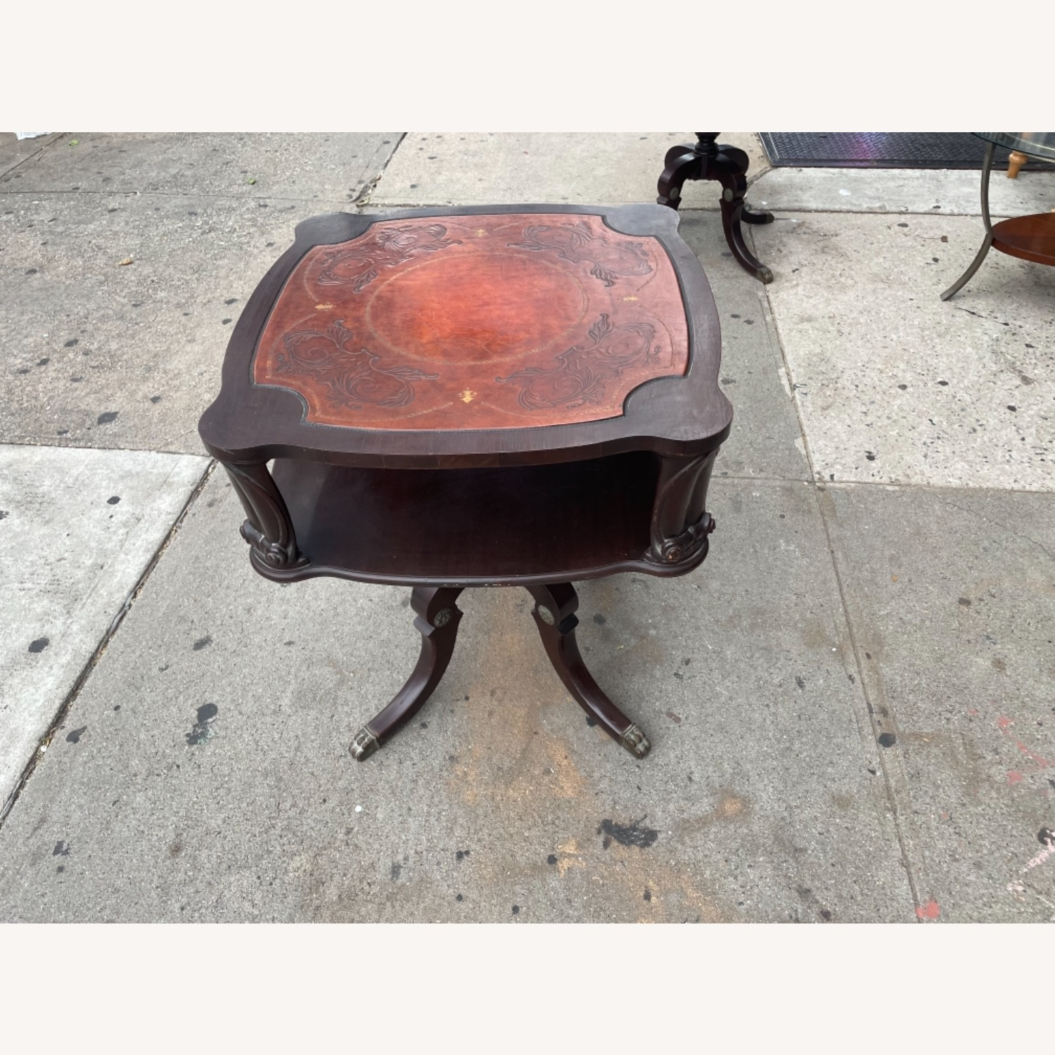 Adams Always 1930s Decorative Leather Top Table - image-2