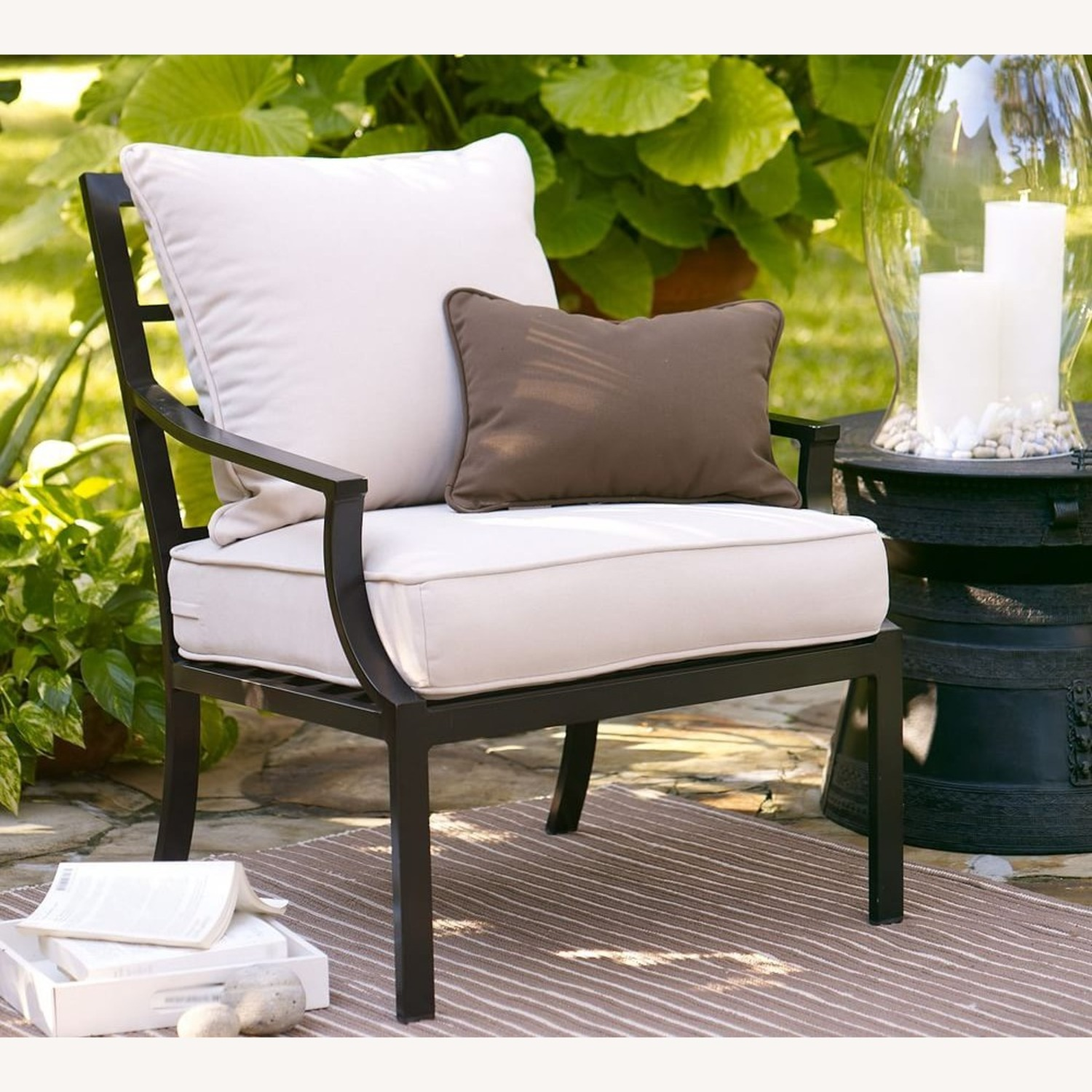 Pottery Barn Riviera Lounge Chair Frame, Black - image-1
