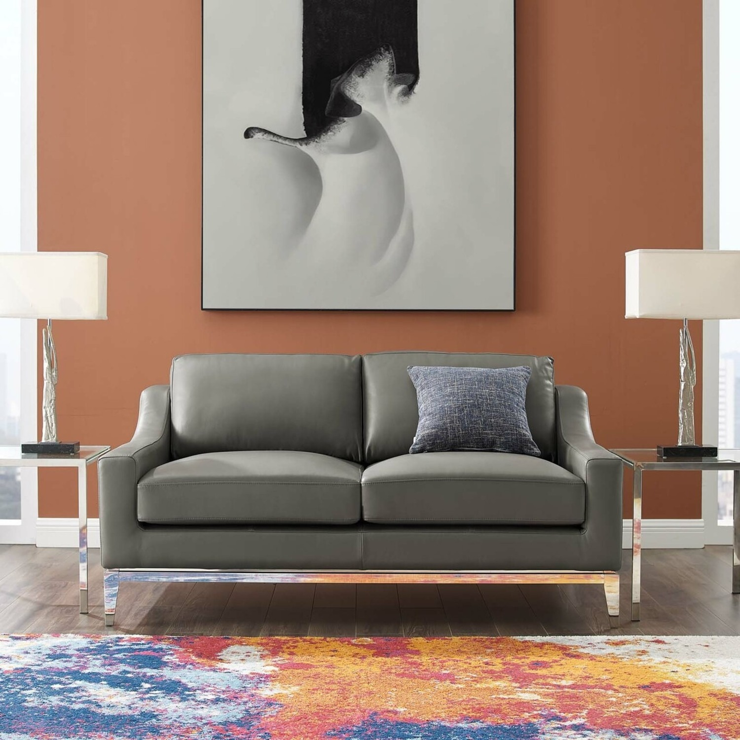 Loveseat In Gray Leather W/ Stainless Steel Base - image-5