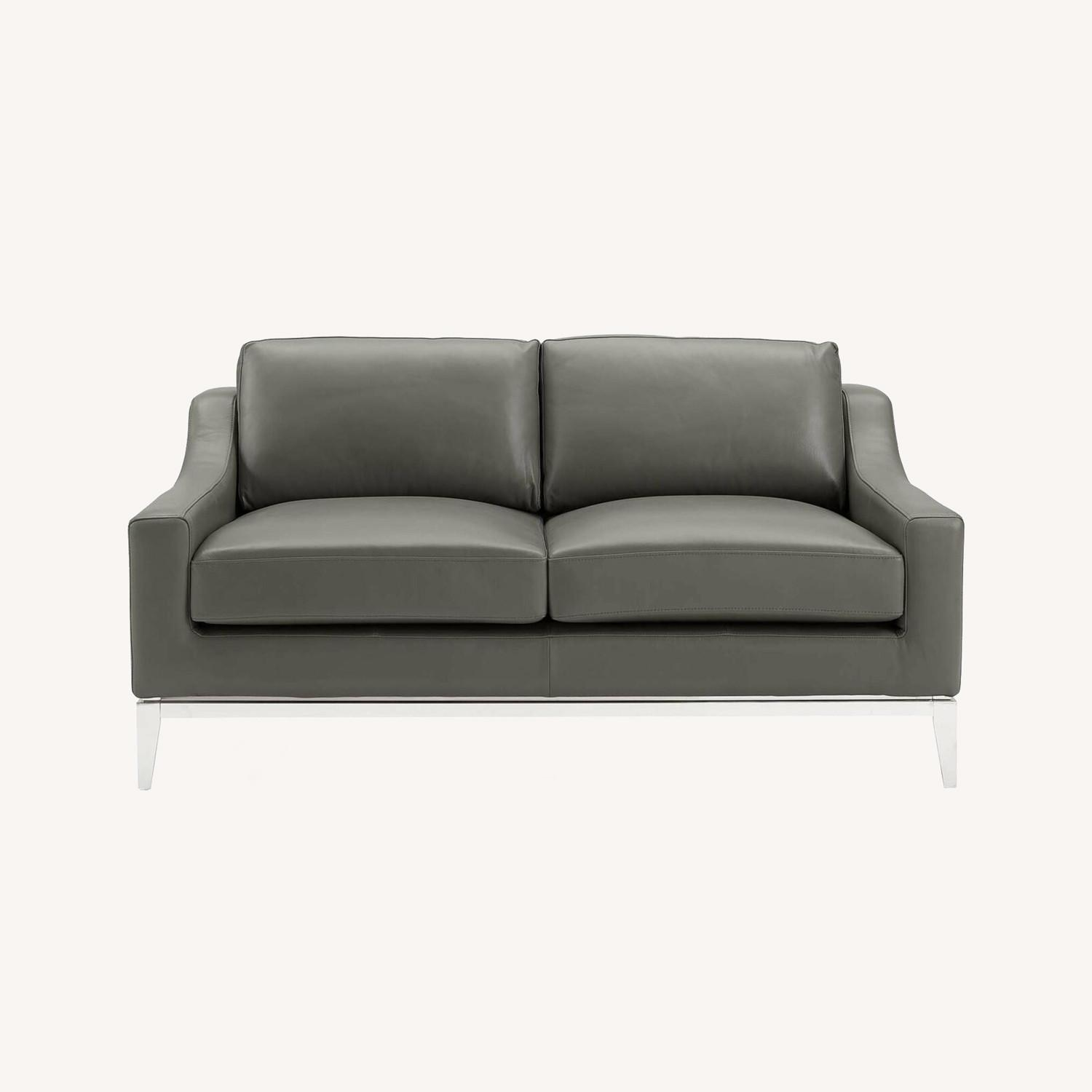 Loveseat In Gray Leather W/ Stainless Steel Base - image-7