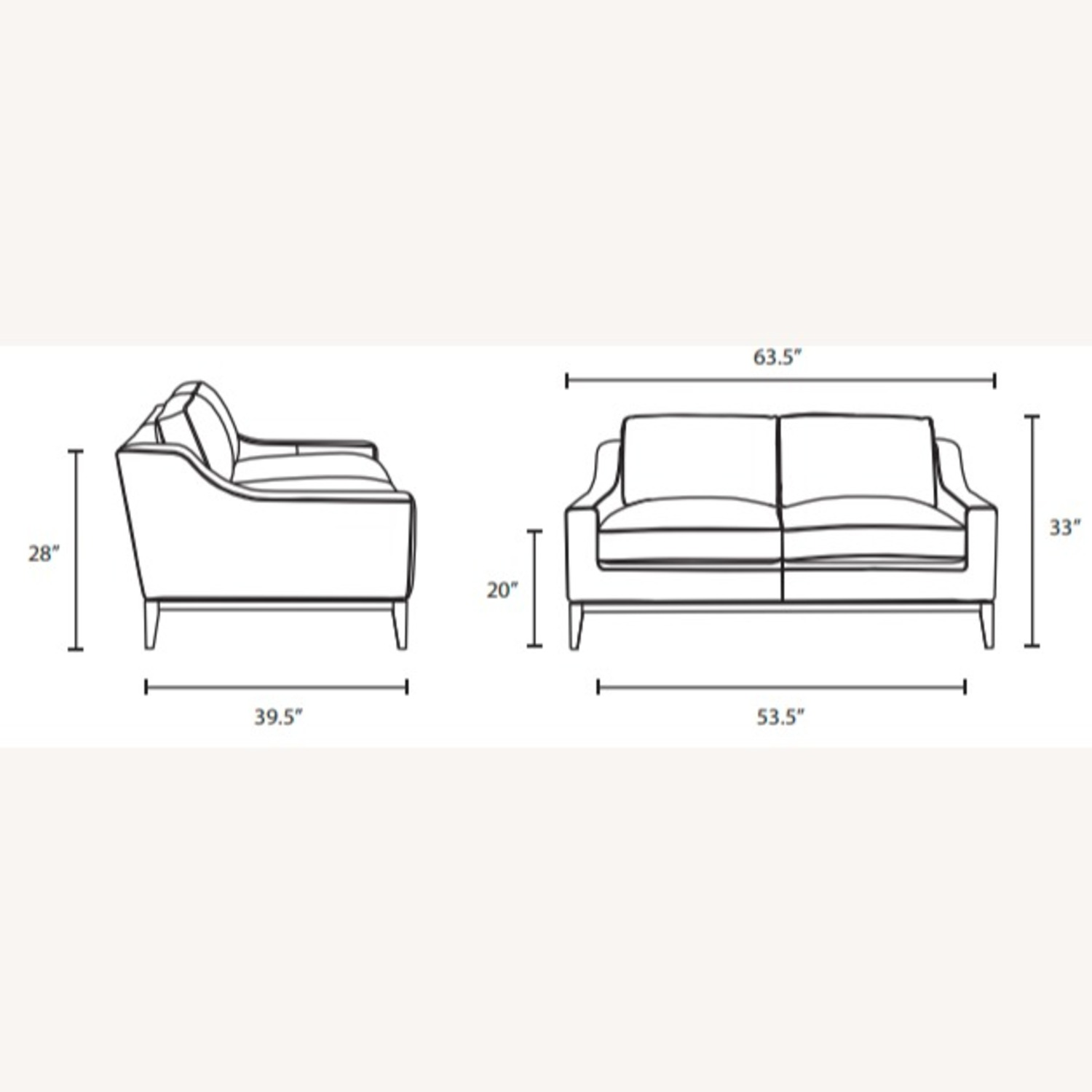 Loveseat In Gray Leather W/ Stainless Steel Base - image-6