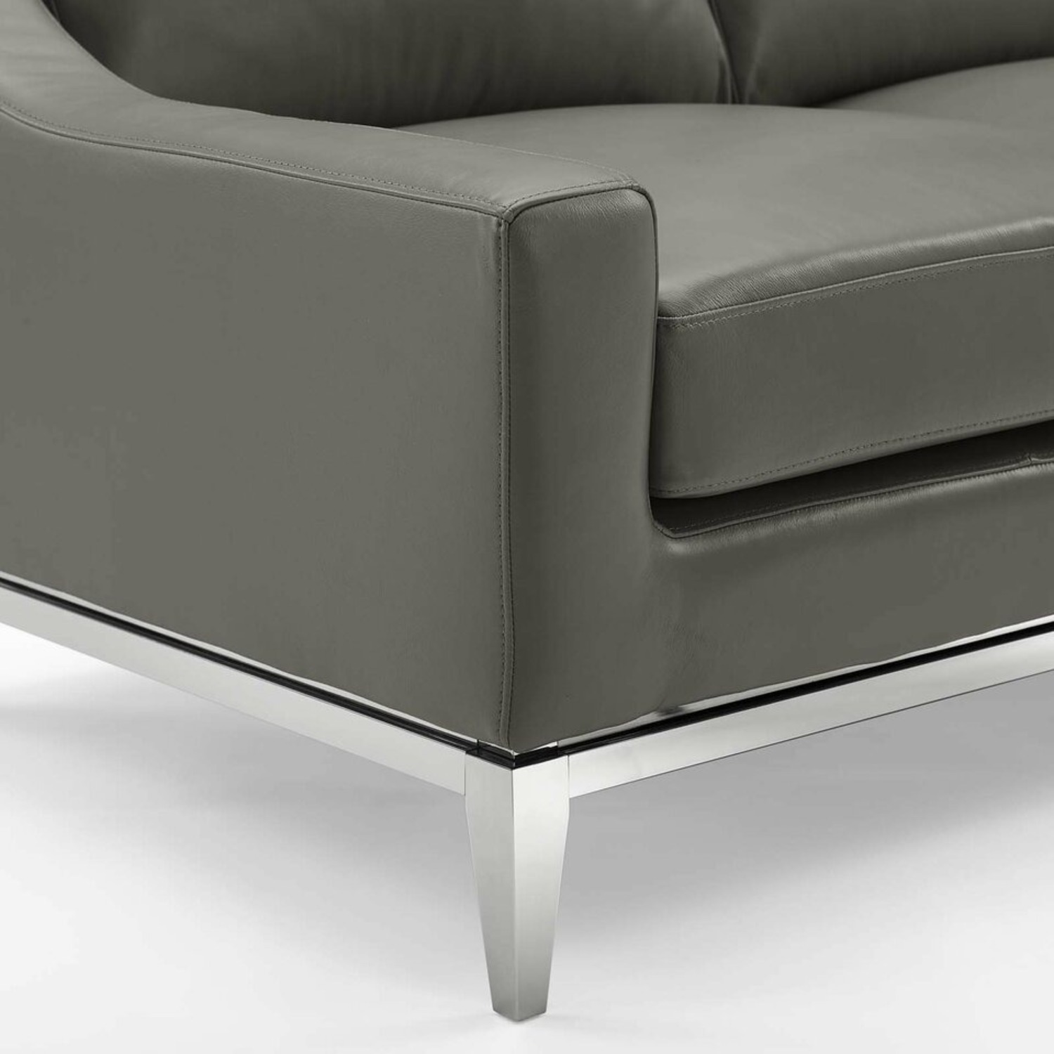 Loveseat In Gray Leather W/ Stainless Steel Base - image-2