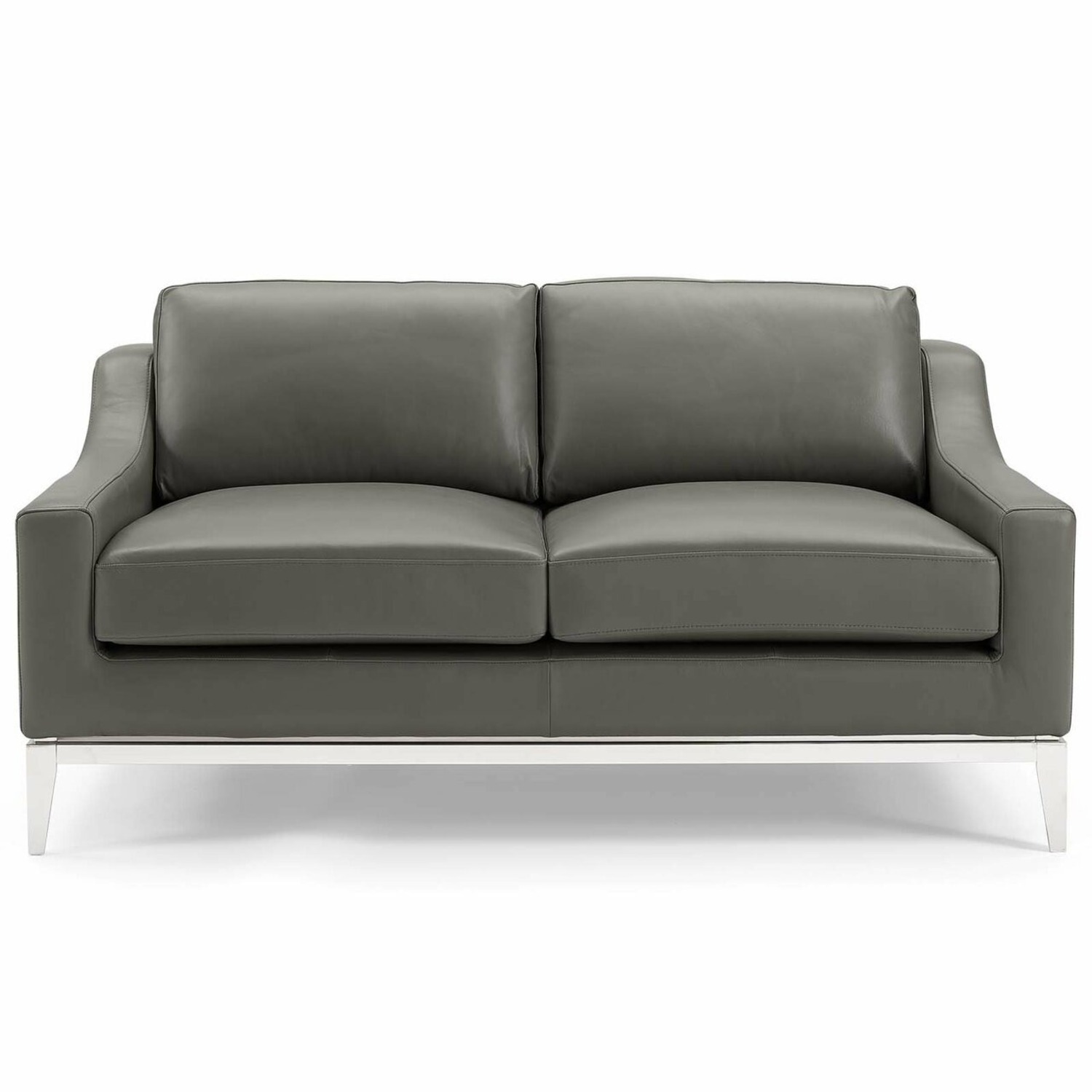 Loveseat In Gray Leather W/ Stainless Steel Base - image-0