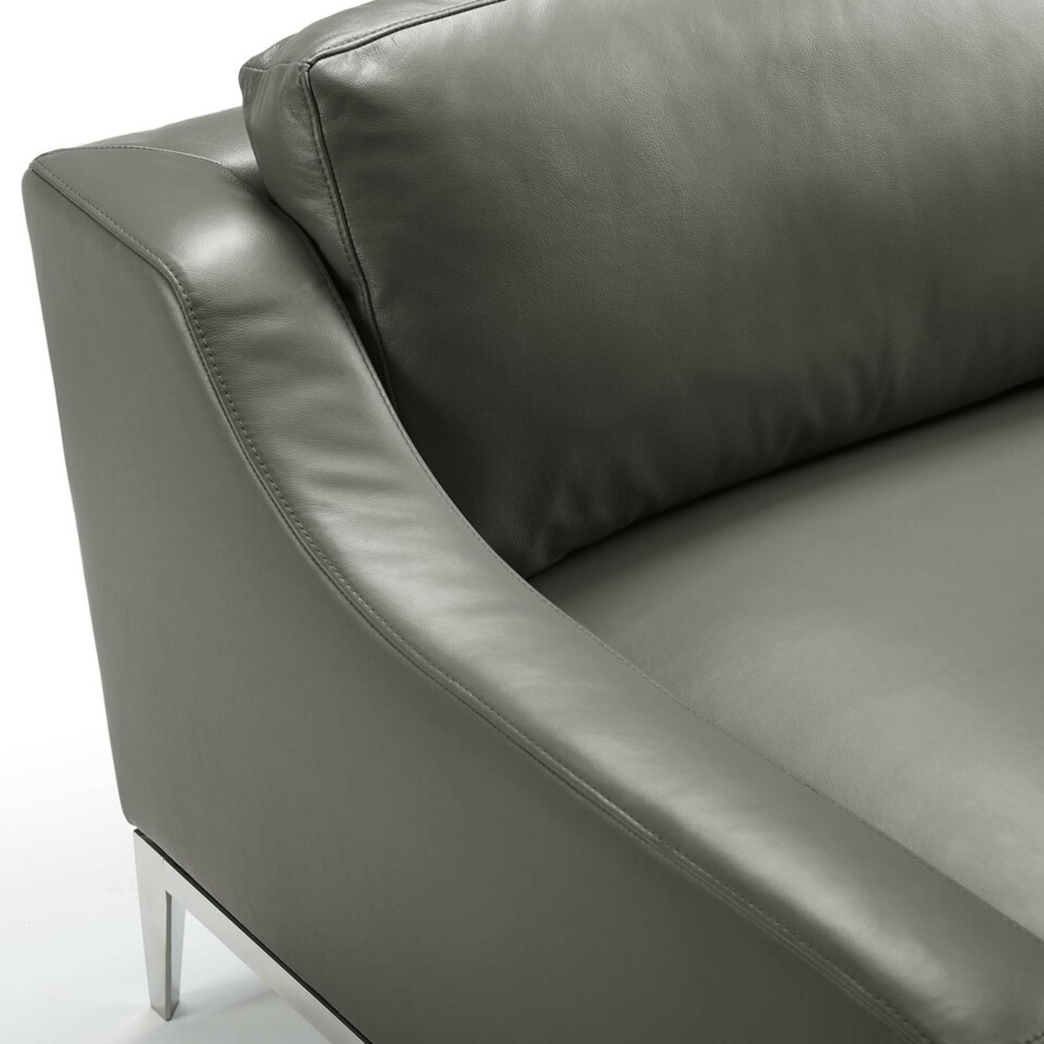 Loveseat In Gray Leather W/ Stainless Steel Base - image-3