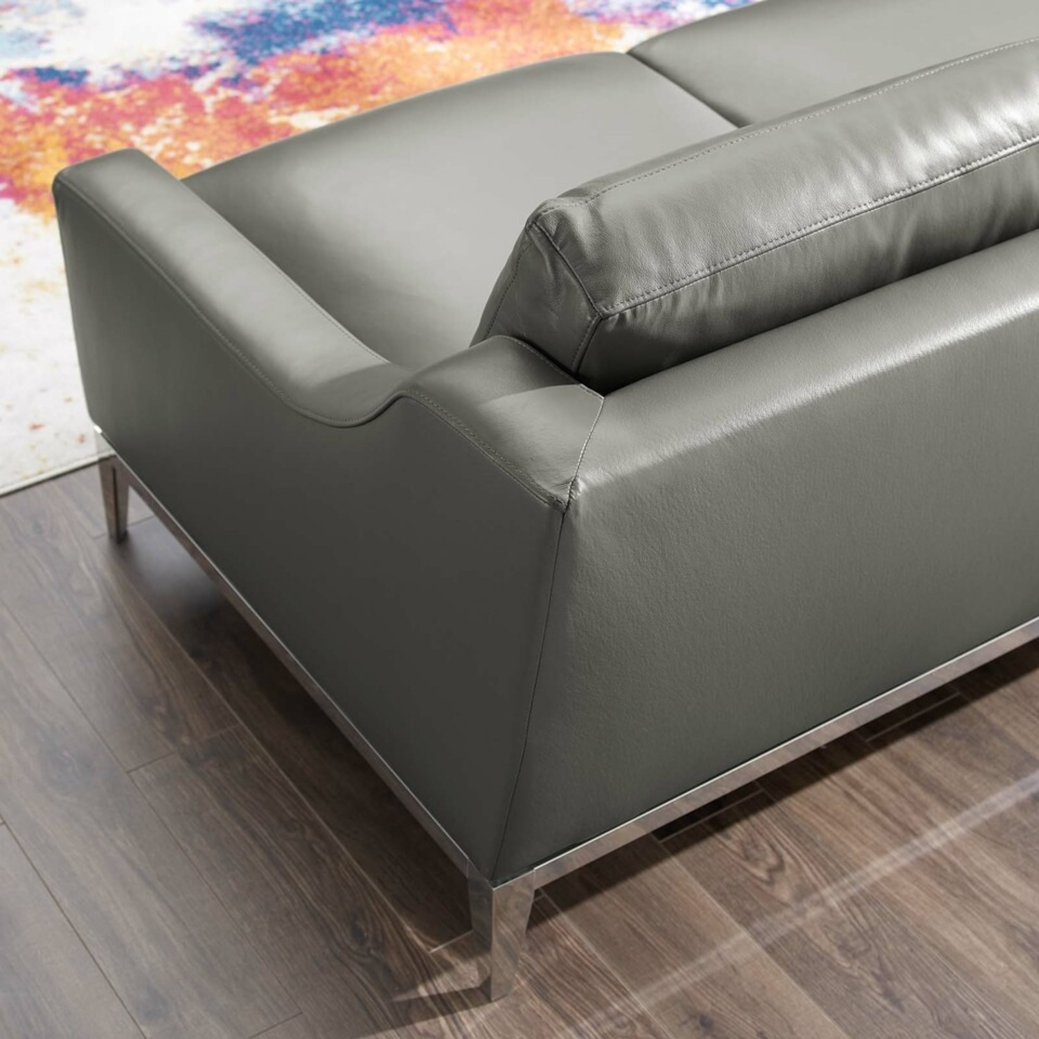 Loveseat In Gray Leather W/ Stainless Steel Base - image-4