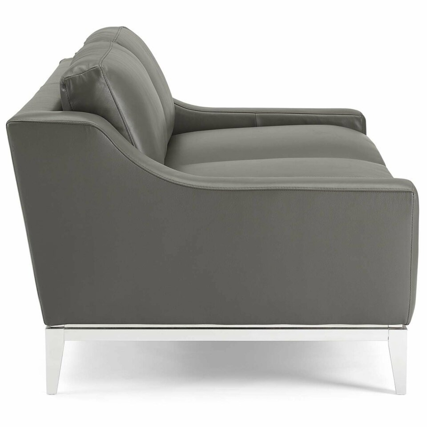 Loveseat In Gray Leather W/ Stainless Steel Base - image-1