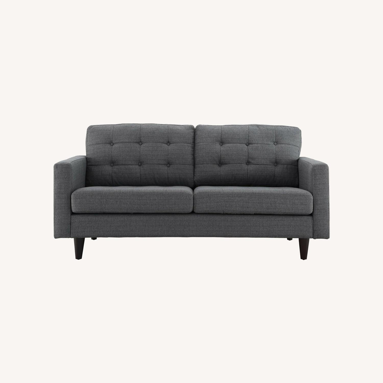 Loveseat In Gray Fabric Upholstery W/ Wood Legs - image-5