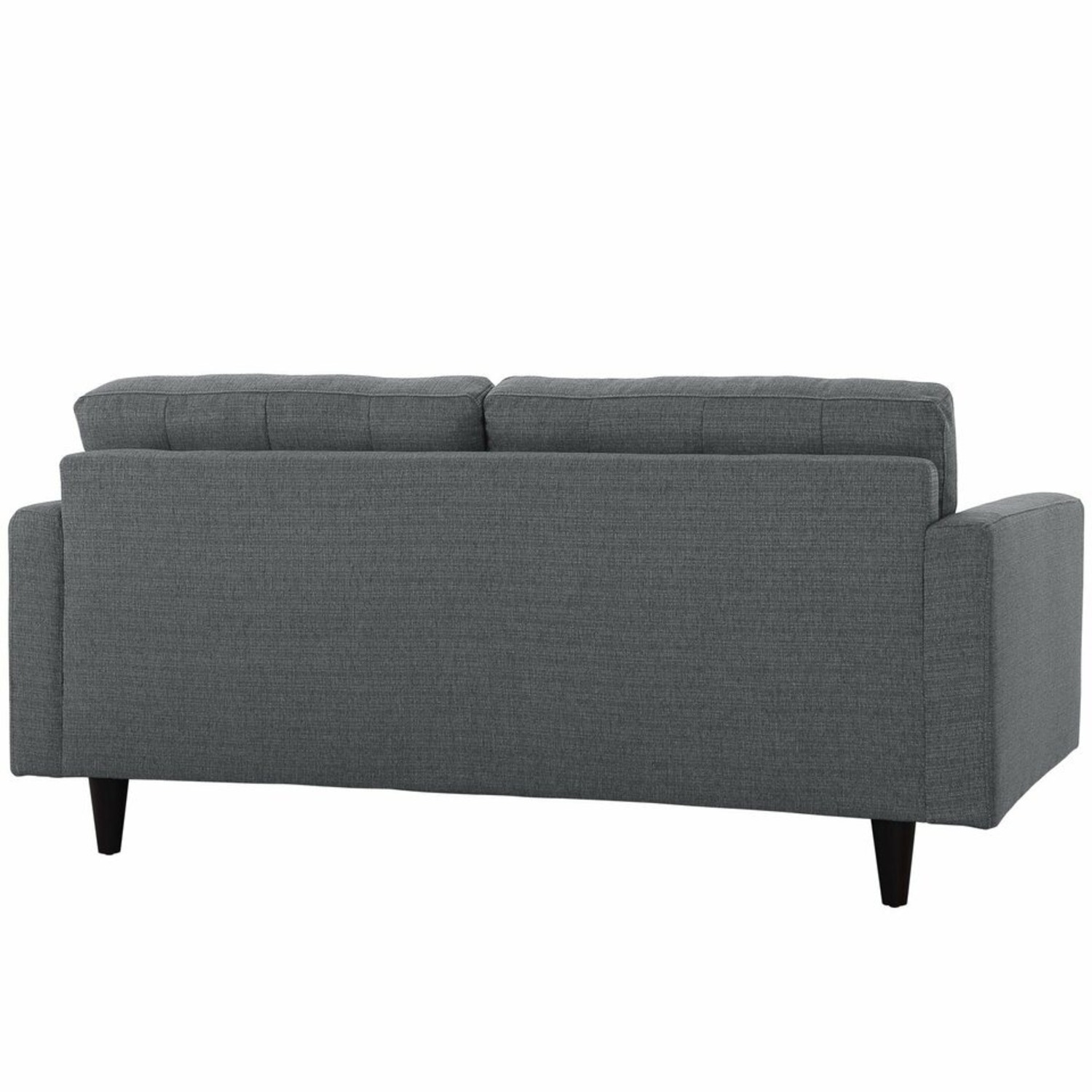 Loveseat In Gray Fabric Upholstery W/ Wood Legs - image-2