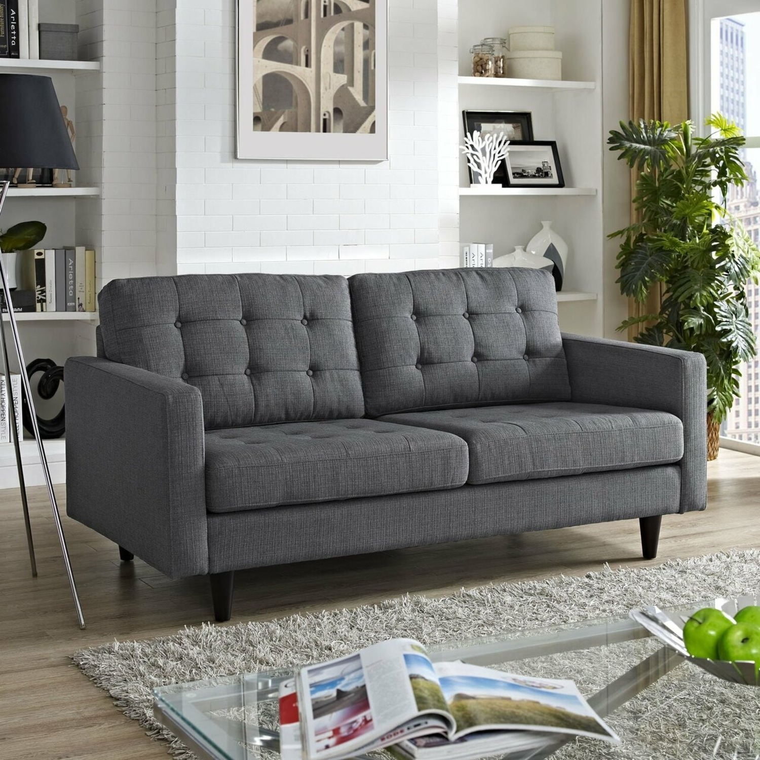 Loveseat In Gray Fabric Upholstery W/ Wood Legs - image-3