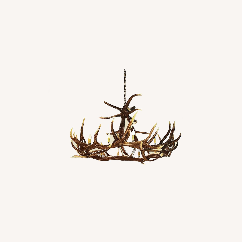 Large Faux Resin Deer Antler Chandelier - image-0