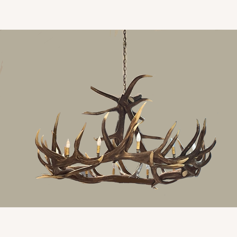 Large Faux Resin Deer Antler Chandelier - image-2
