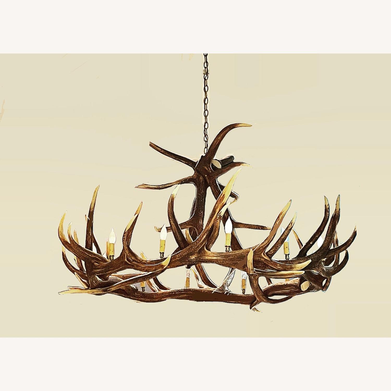 Large Faux Resin Deer Antler Chandelier - image-1