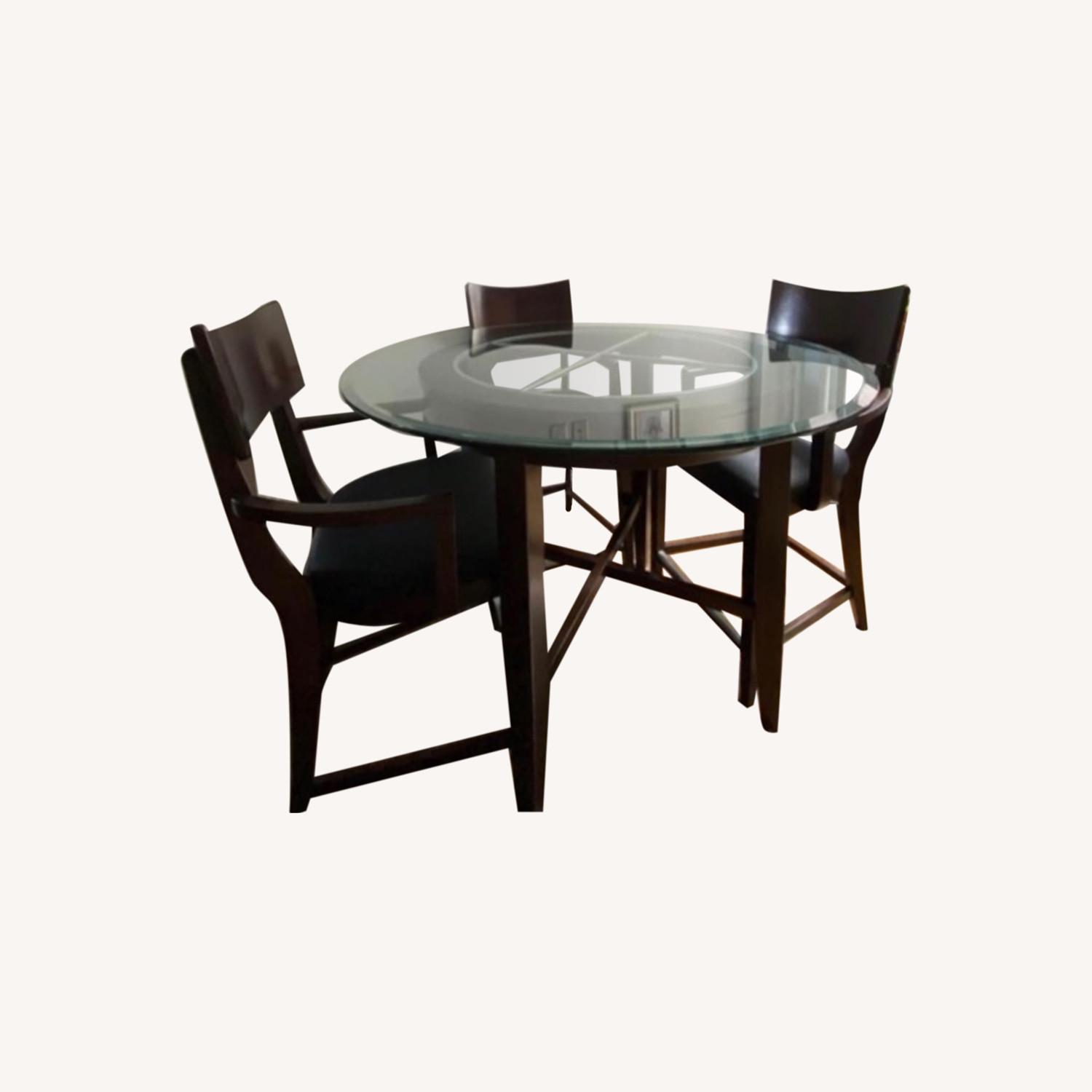 High Top Dining Table Set - Glass & Wood 4 Chairs - image-0