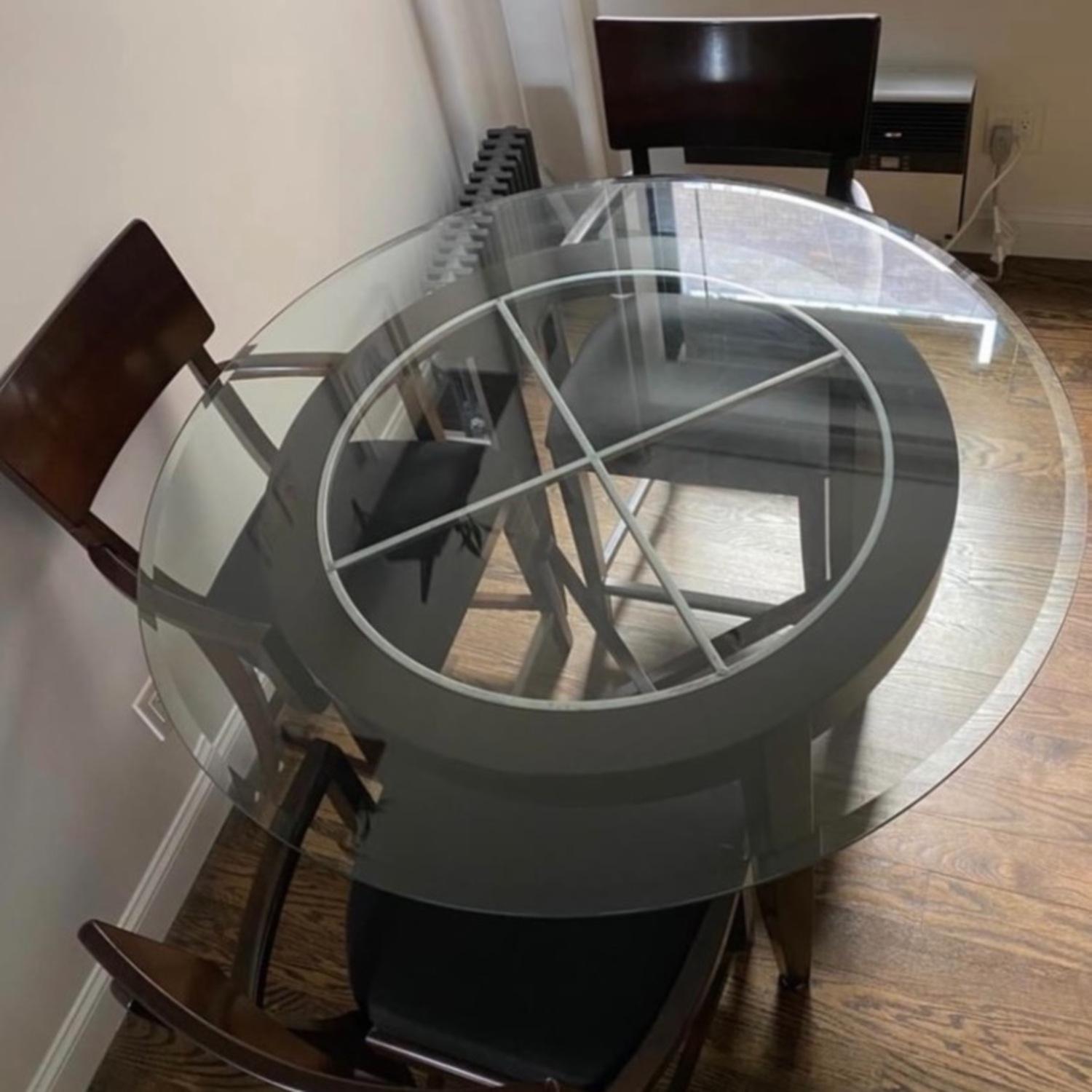 High Top Dining Table Set - Glass & Wood 4 Chairs - image-3