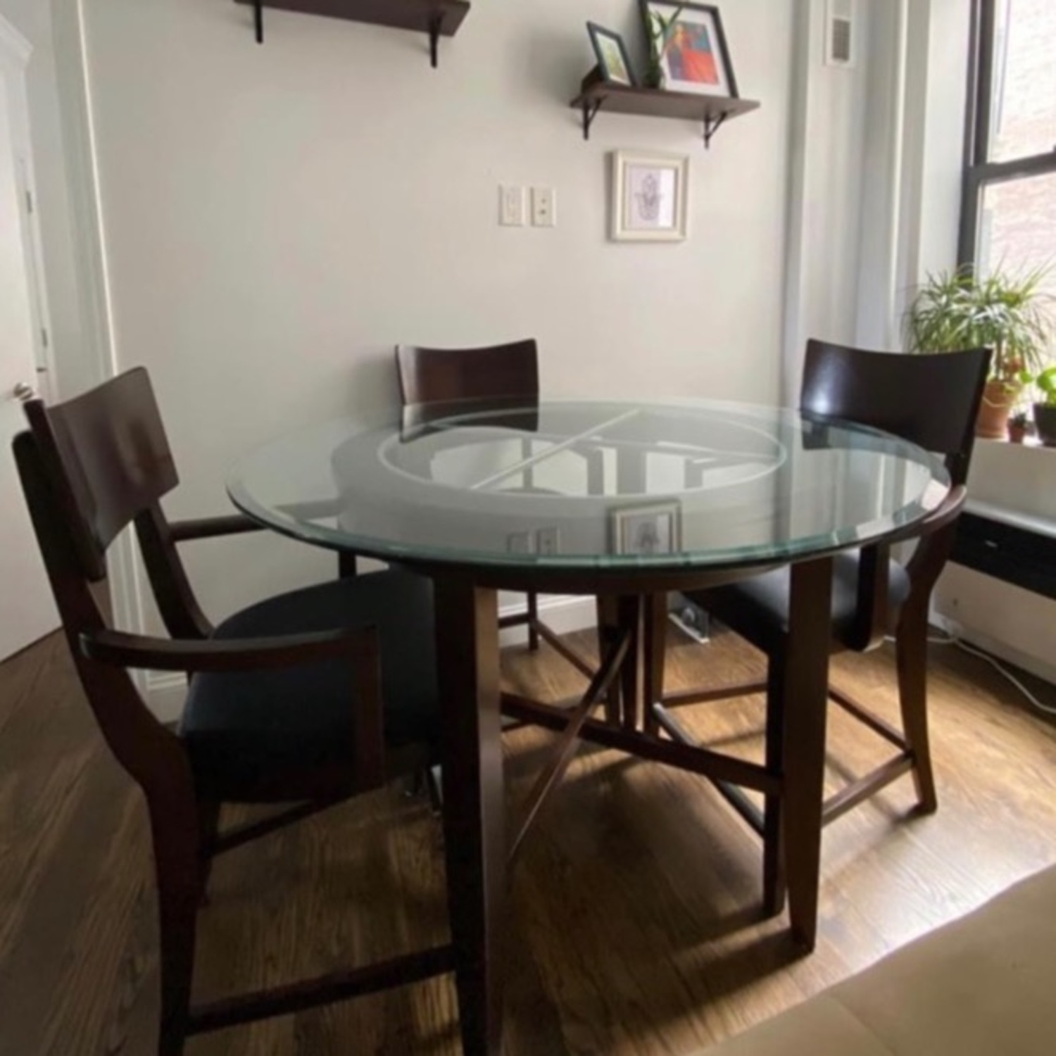 High Top Dining Table Set - Glass & Wood 4 Chairs - image-1