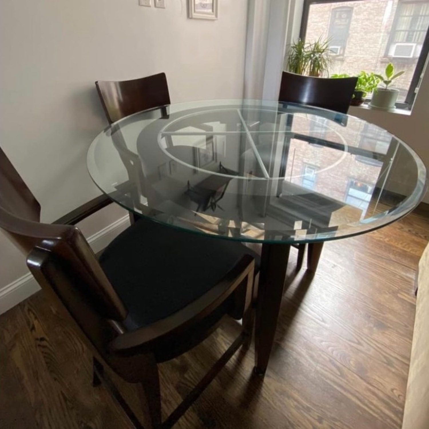 High Top Dining Table Set - Glass & Wood 4 Chairs - image-2