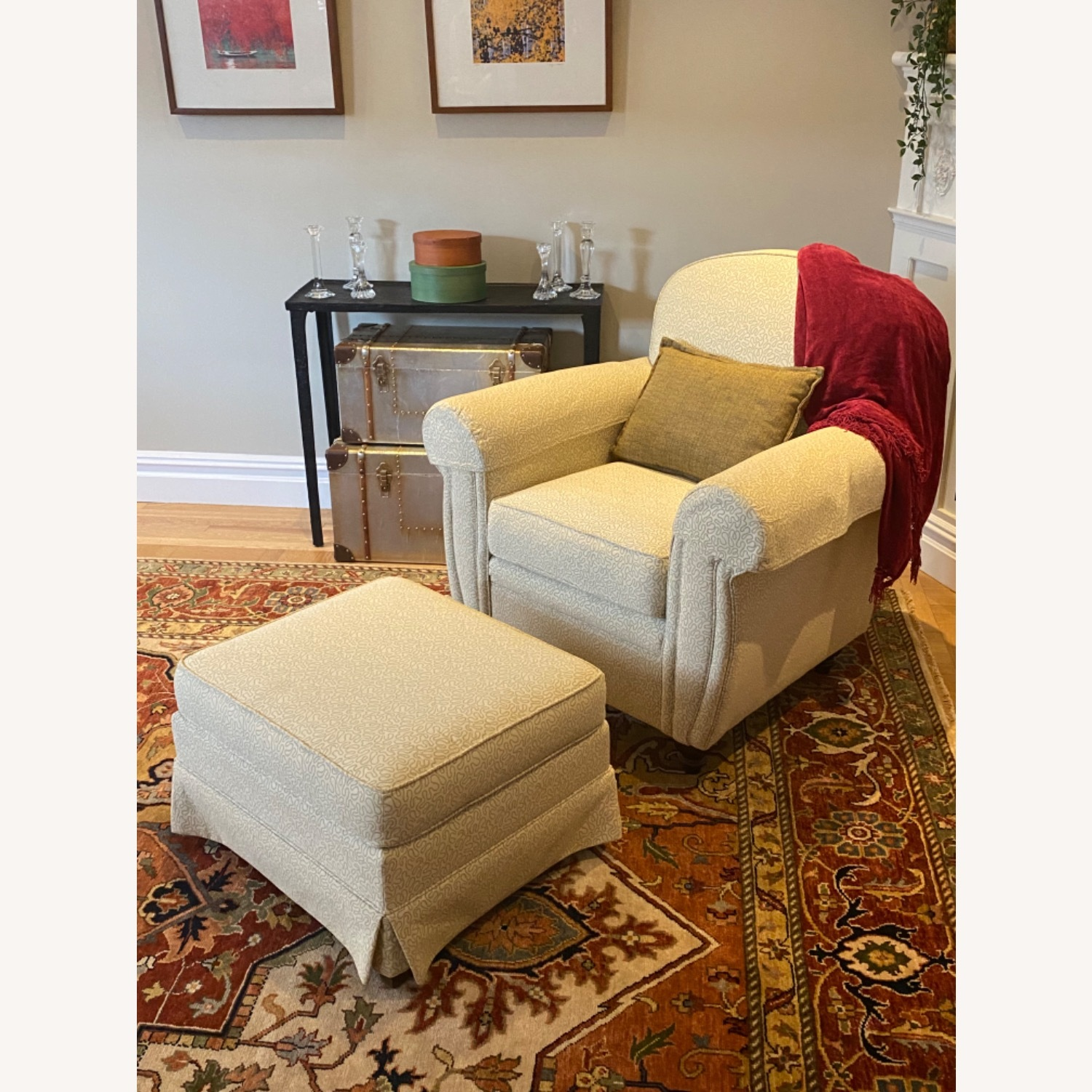 Ethan Allen 2 Upholstered Arm Chairs with 1 Ottoman - image-2
