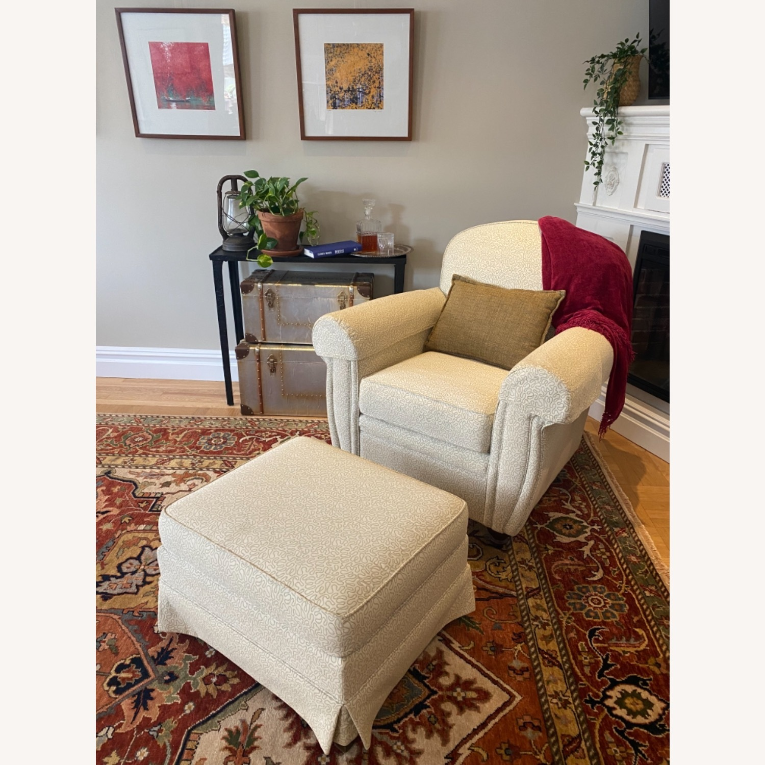 Ethan Allen 2 Upholstered Arm Chairs with 1 Ottoman - image-1