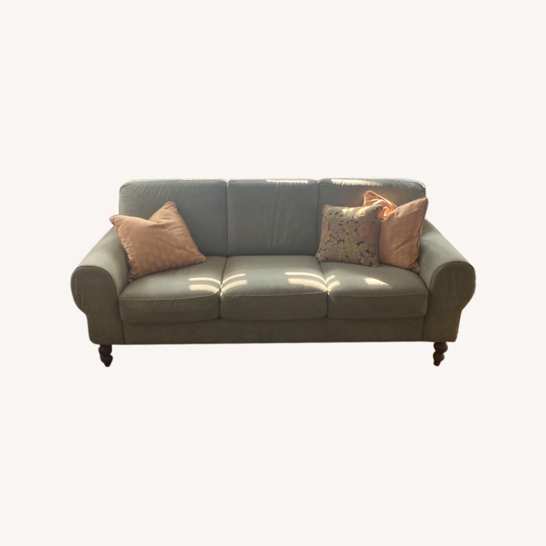 Ethan Allen Sage Green Micro-suede Sofa - image-0
