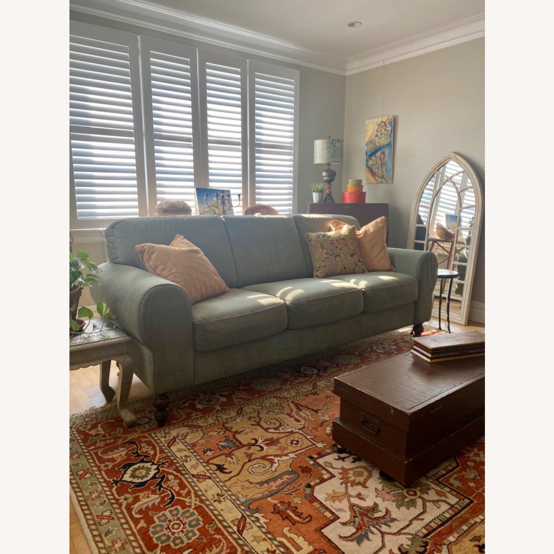 Ethan Allen Sage Green Micro-suede Sofa - image-4