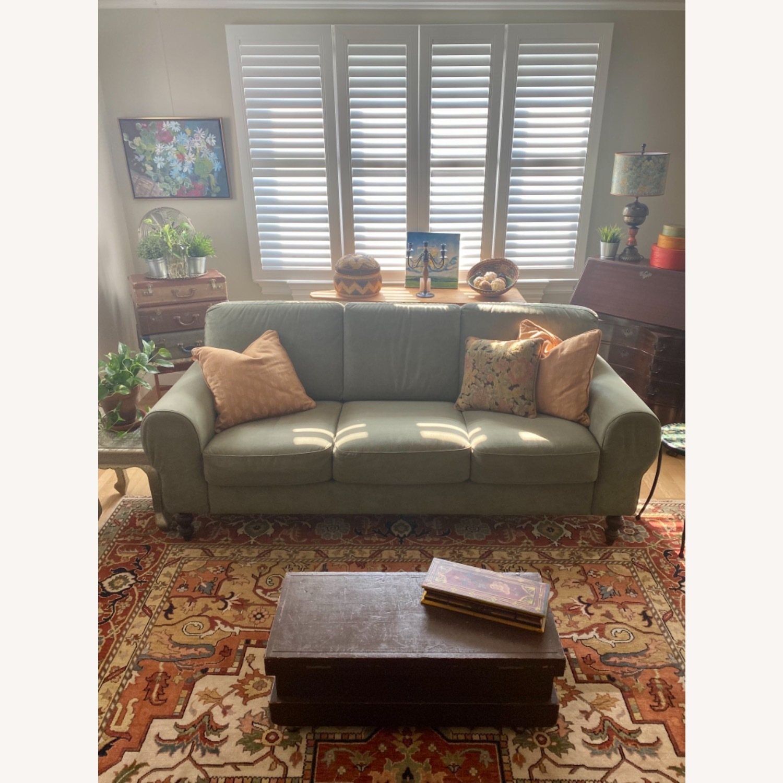 Ethan Allen Sage Green Micro-suede Sofa - image-1