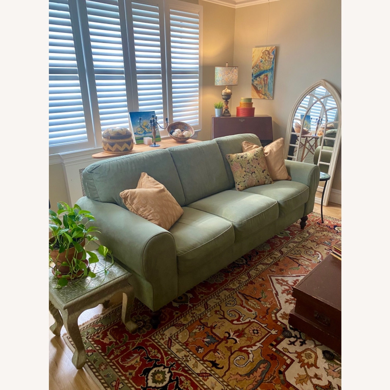 Ethan Allen Sage Green Micro-suede Sofa - image-6