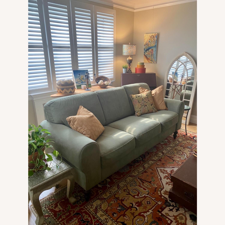 Ethan Allen Sage Green Micro-suede Sofa - image-2
