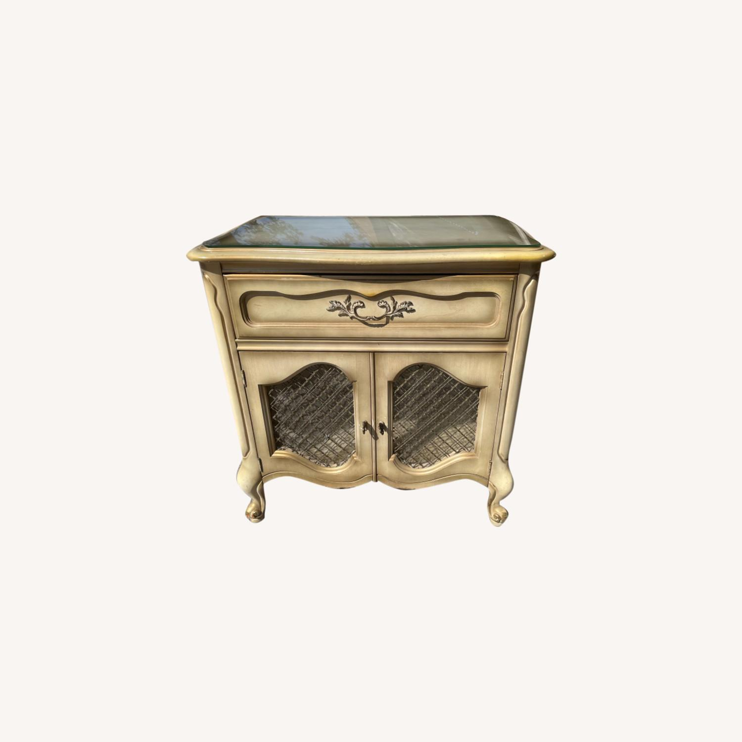 Basset 1970sFrench Style Nightstand w/GlassTop - image-0