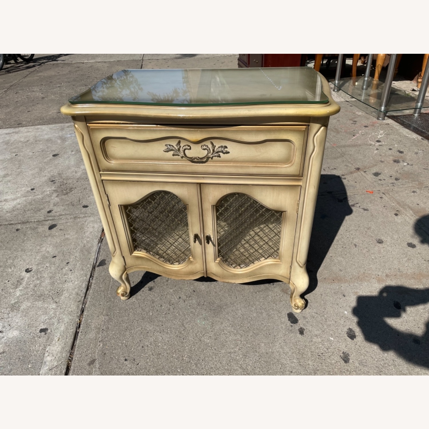 Basset 1970sFrench Style Nightstand w/GlassTop - image-1