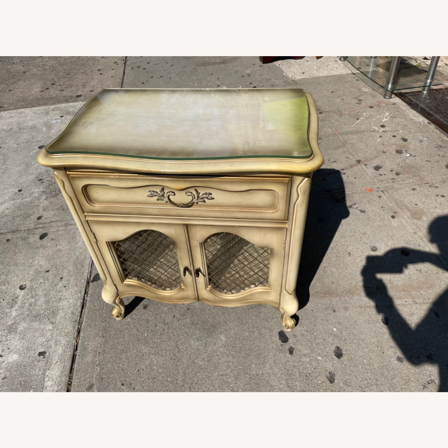 Basset 1970sFrench Style Nightstand w/GlassTop - image-9