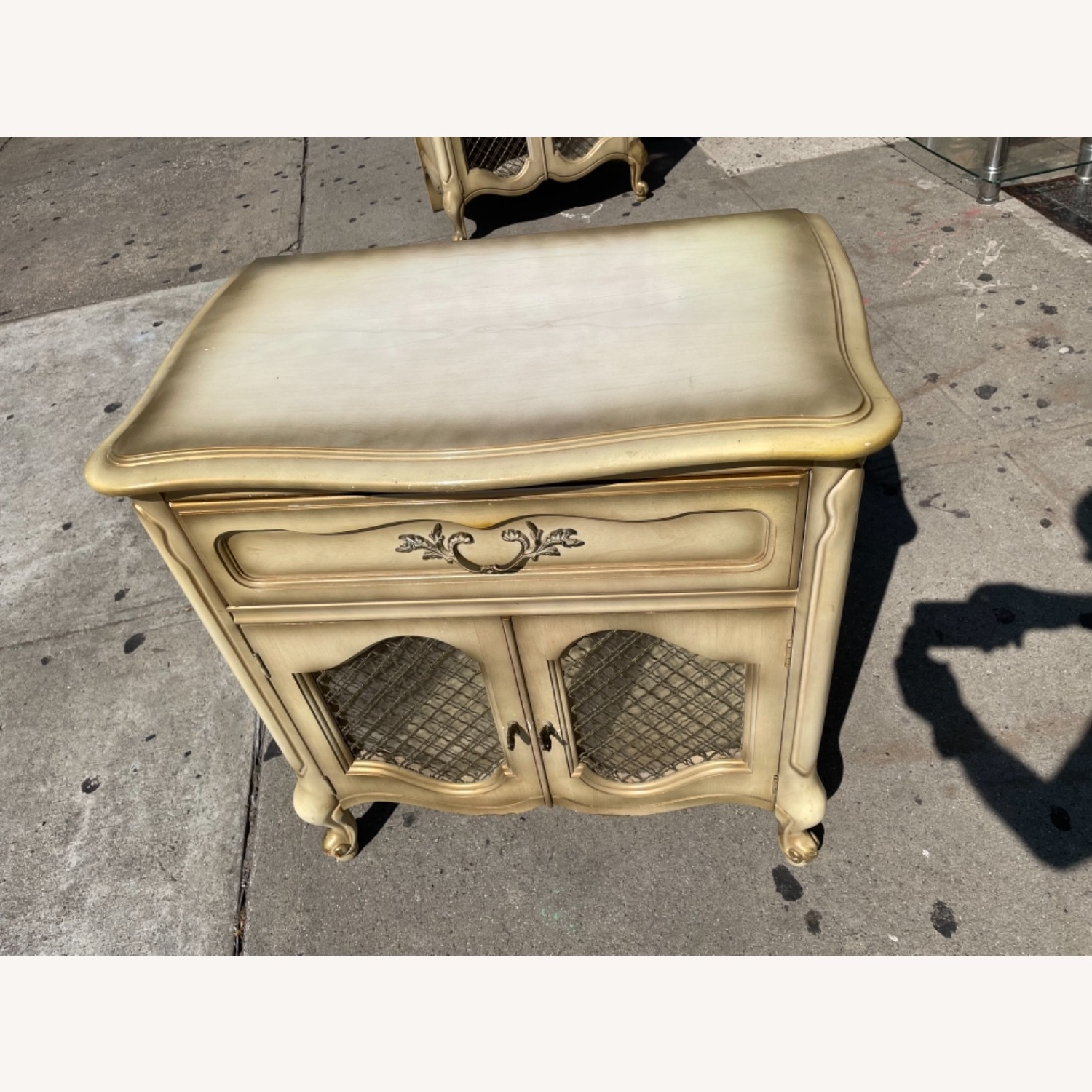 Basset 1970sFrench Style Nightstand w/GlassTop - image-4