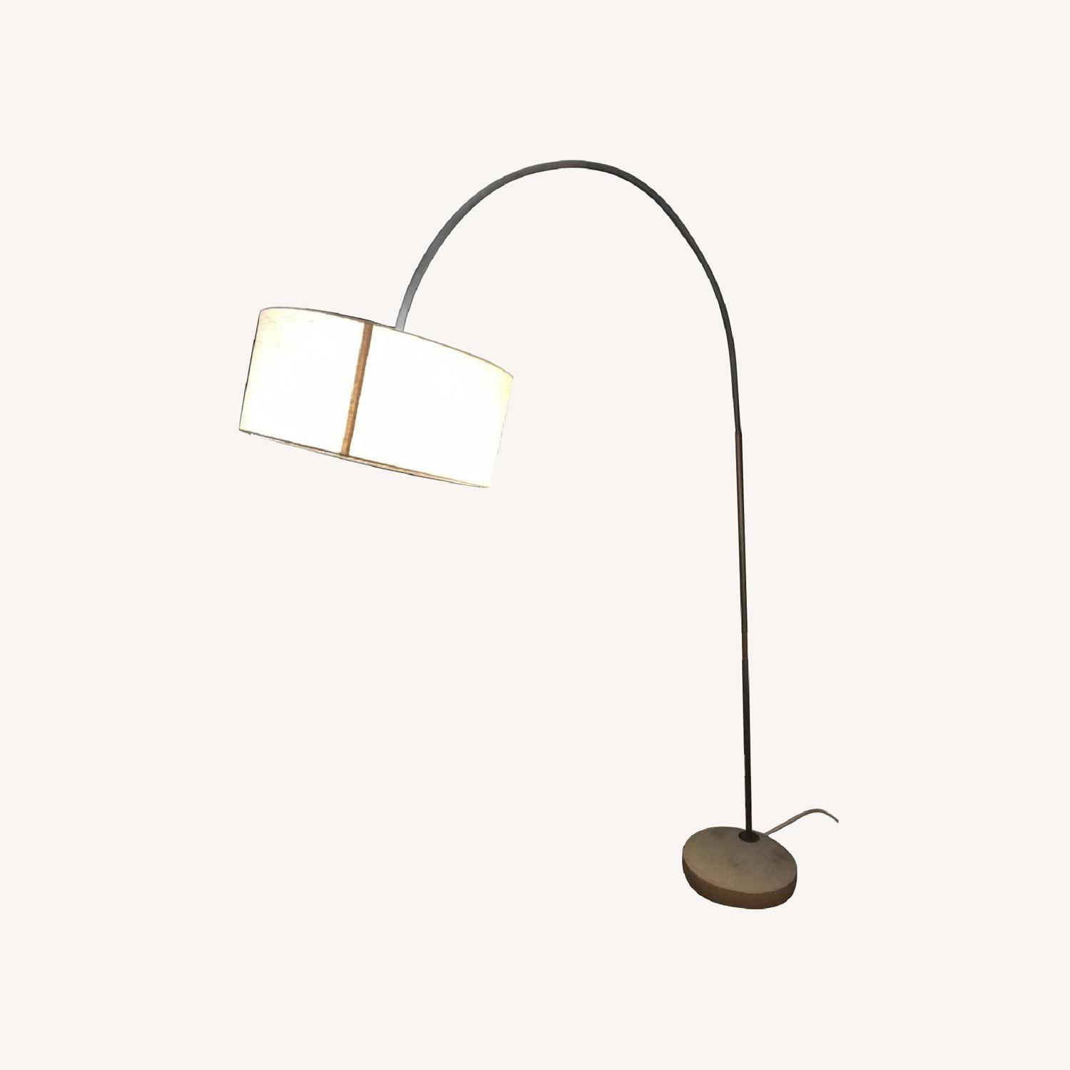 CB2 Arched Floor Lamp Beige Shade Concrete Base - image-0