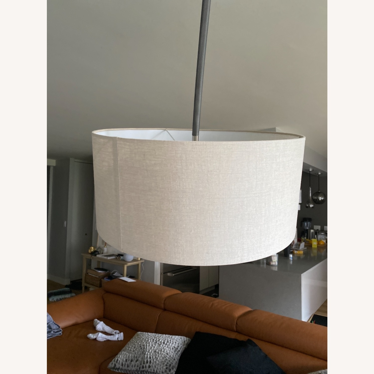 CB2 Arched Floor Lamp Beige Shade Concrete Base - image-5