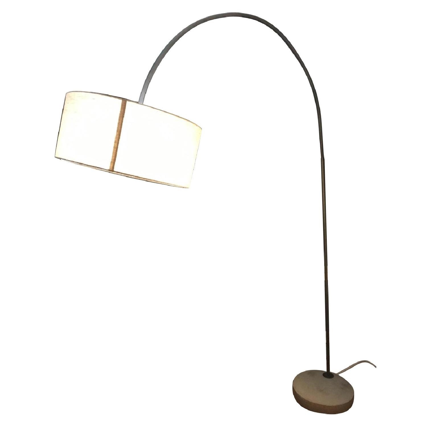 CB2 Arched Floor Lamp Beige Shade Concrete Base - image-1