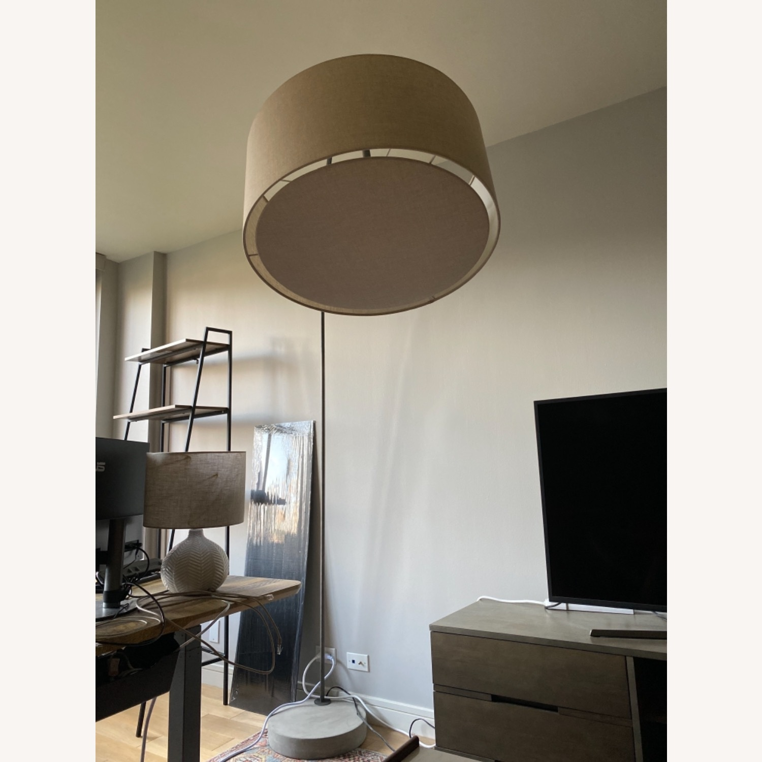 CB2 Arched Floor Lamp Beige Shade Concrete Base - image-2